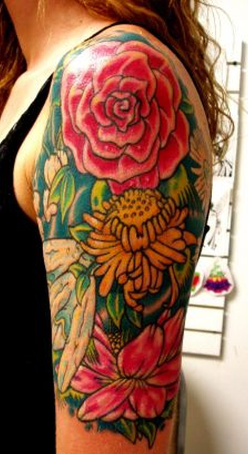 Flower tattoo design on half sleeve