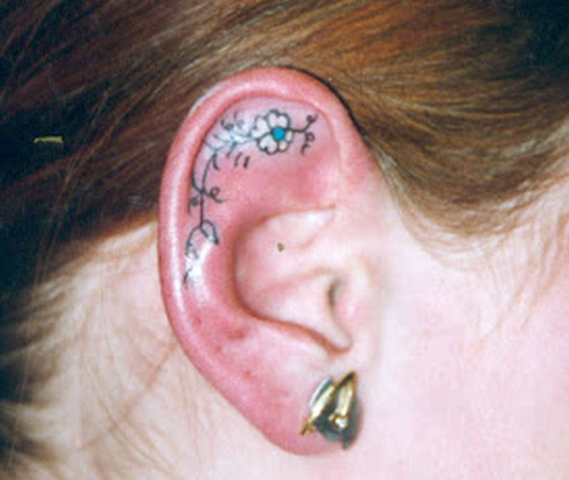 Flower tattoo inside the ear 2
