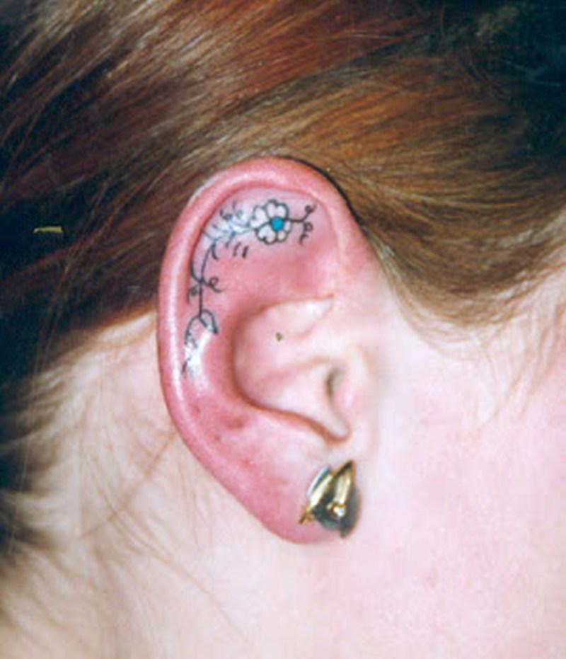 Flower tattoo inside the ear 2
