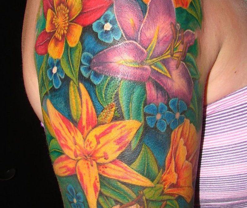 Flowers arm tattoo design for girls