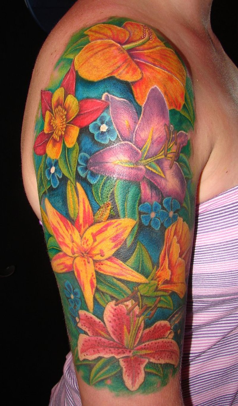 Flowers arm tattoo design for girls