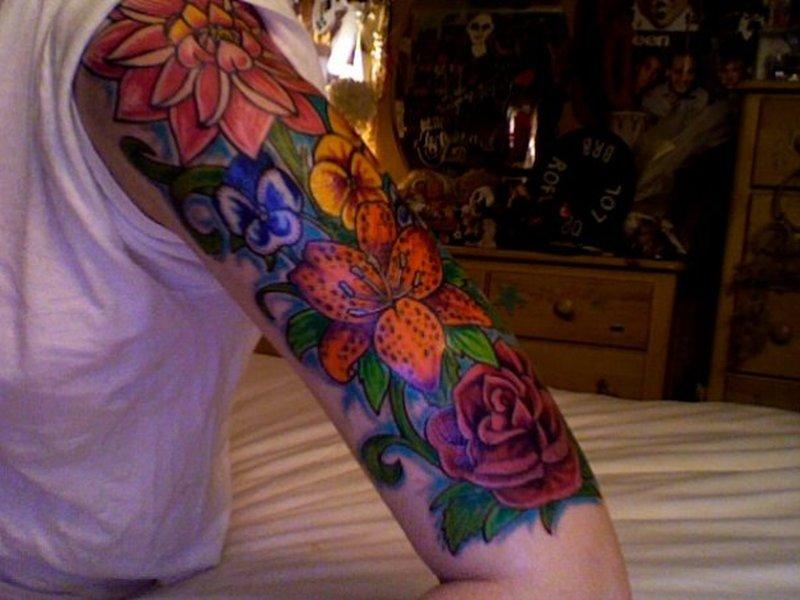 Flowers half sleeve tattoo design