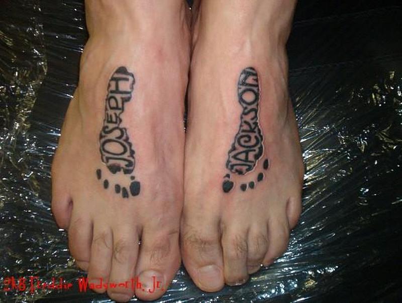 Footprints tattoo on feet