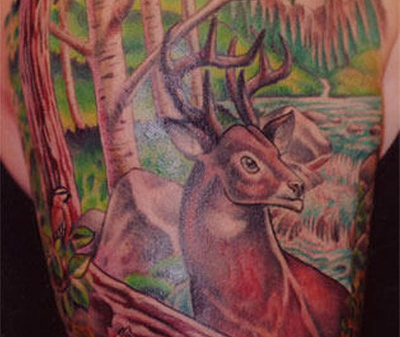 Forest deer tattoo design 2