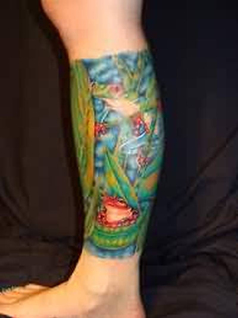 Forest frog on leg tattoo