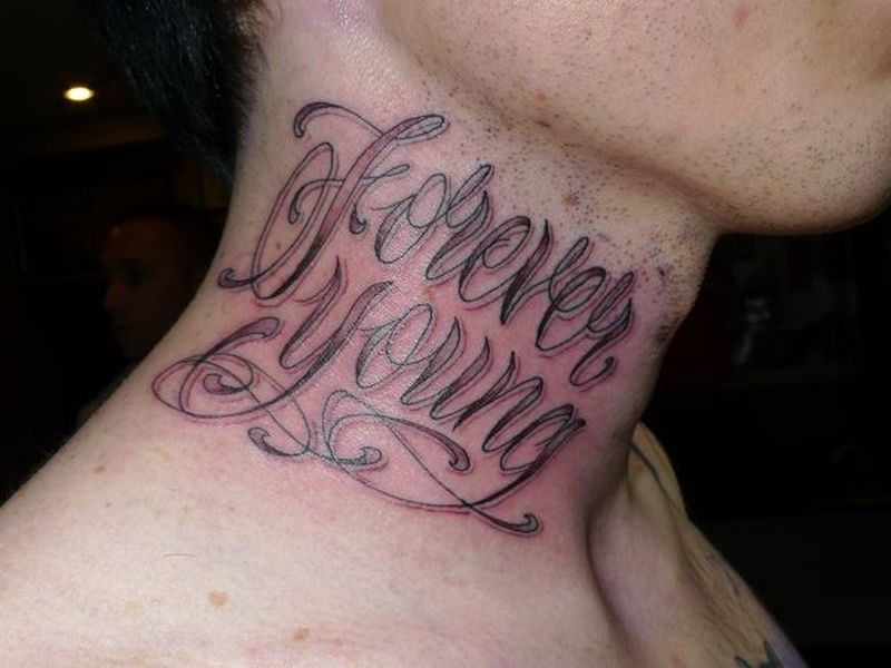 Forever young ambigram tattoo on neck