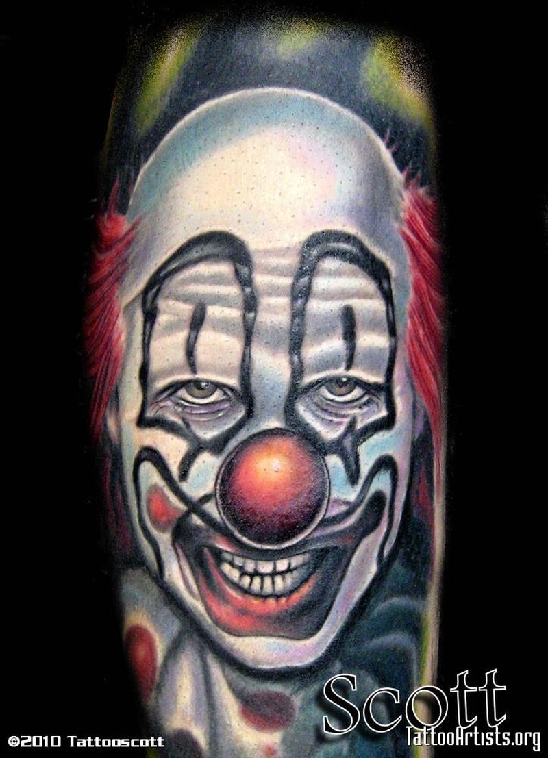 Freaky funny clown tattoo design