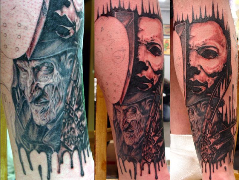 Freddy horror tattoo design