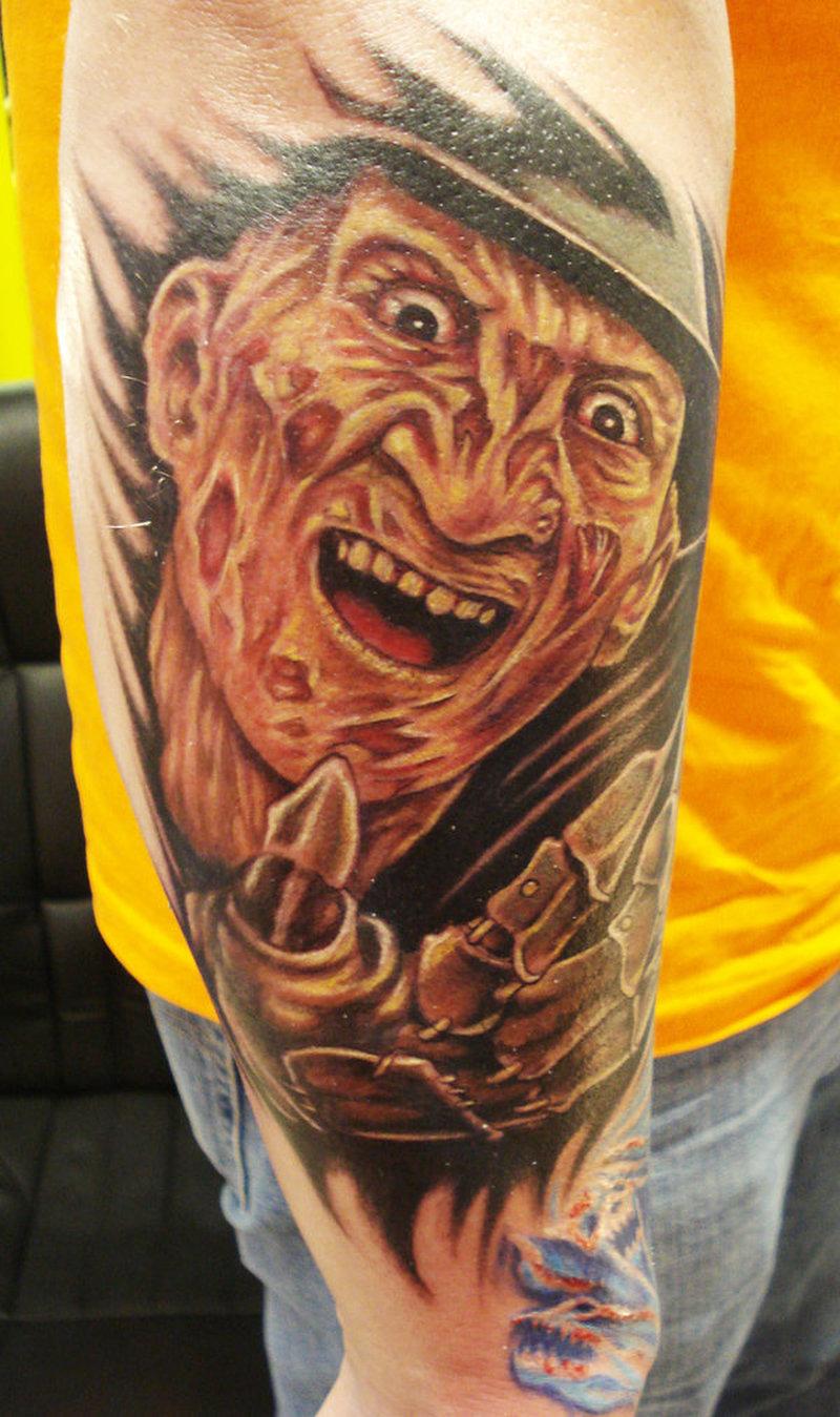 Freddy krueger horror tattoo on arm