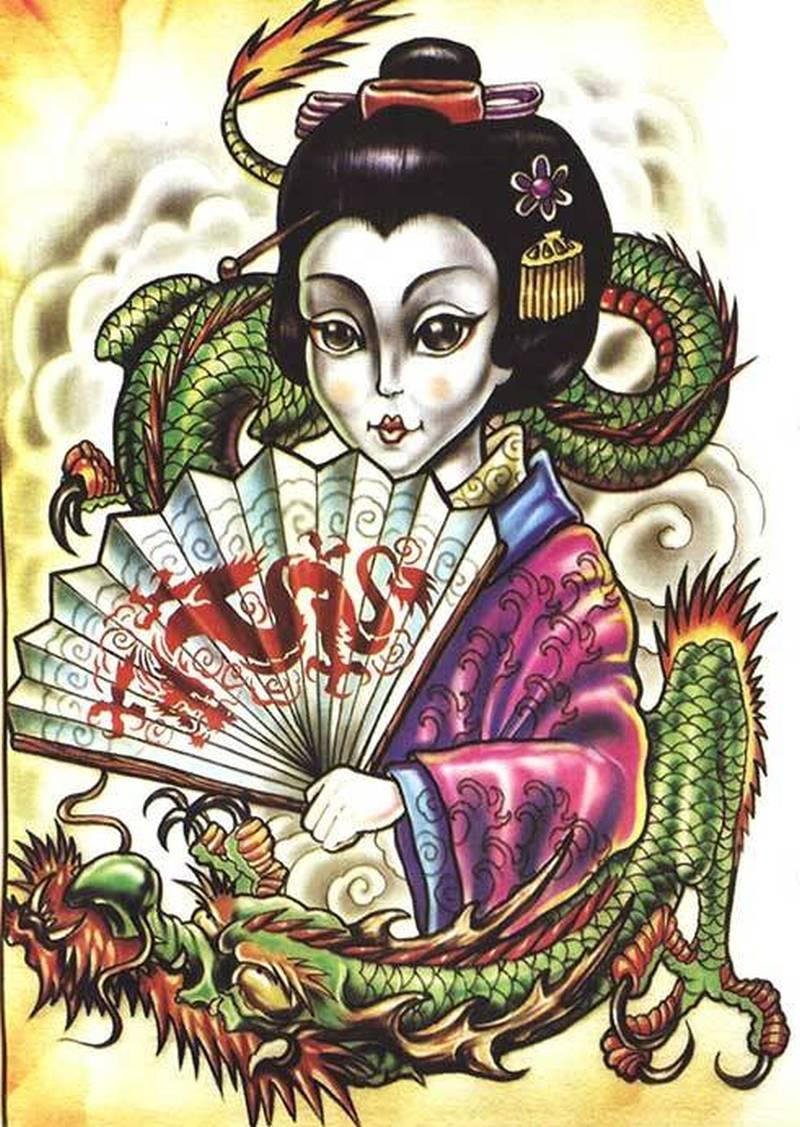 Free dragon geisha tattoo design