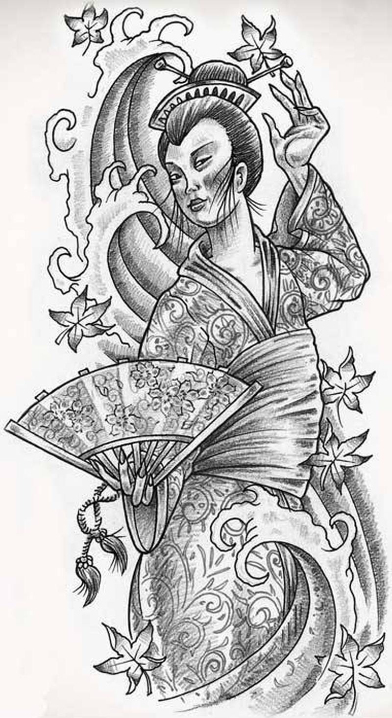 Free japanese geisha tattoo design