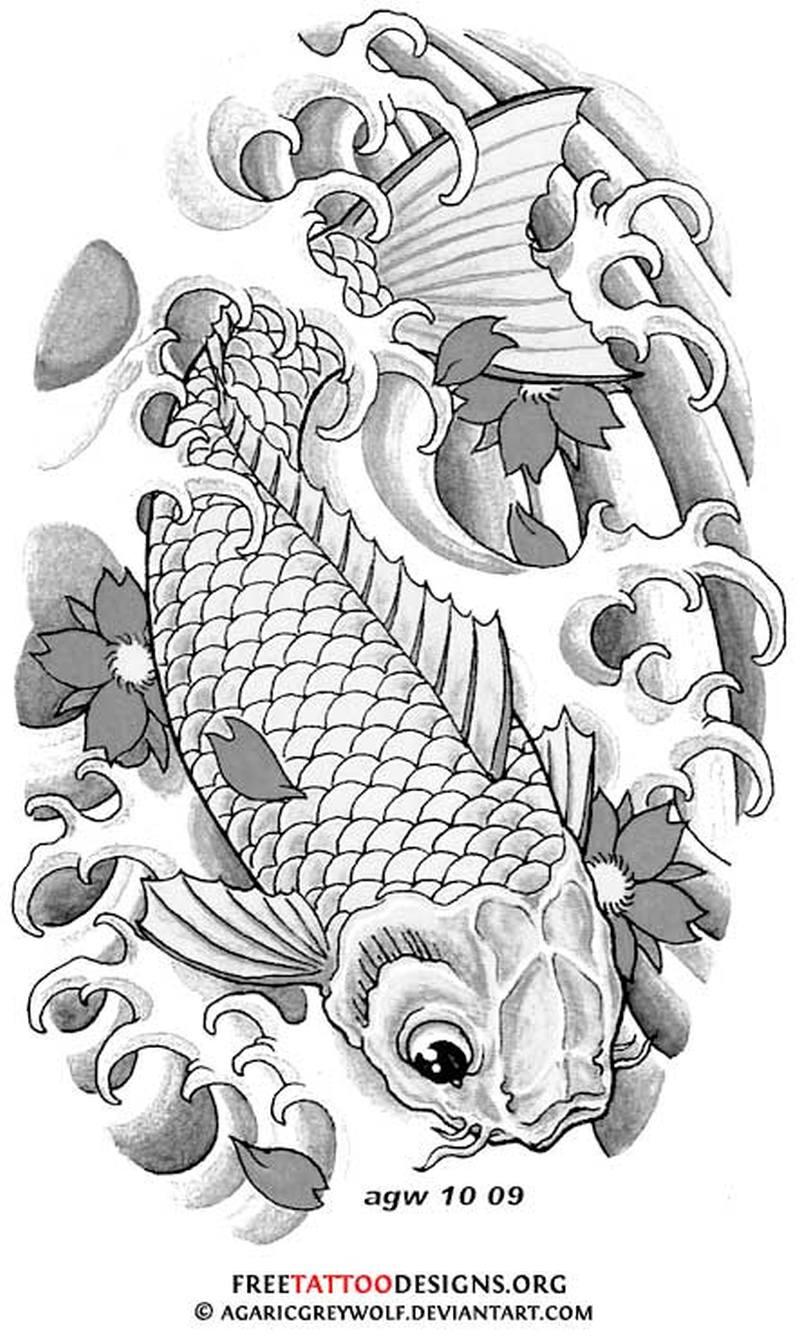 Free koi fish tattoo design