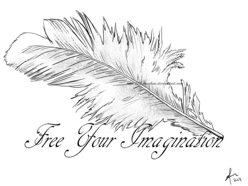Free your imagination feather tattoo design