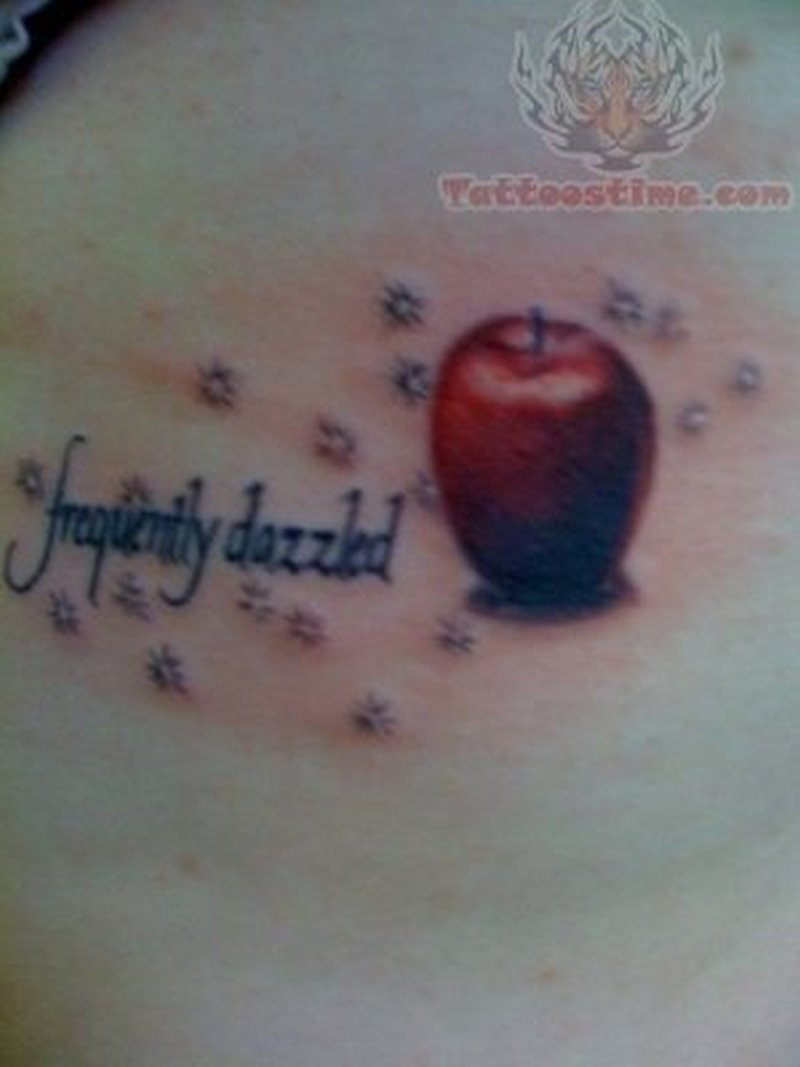 Frequently dazzled red apple tattoo