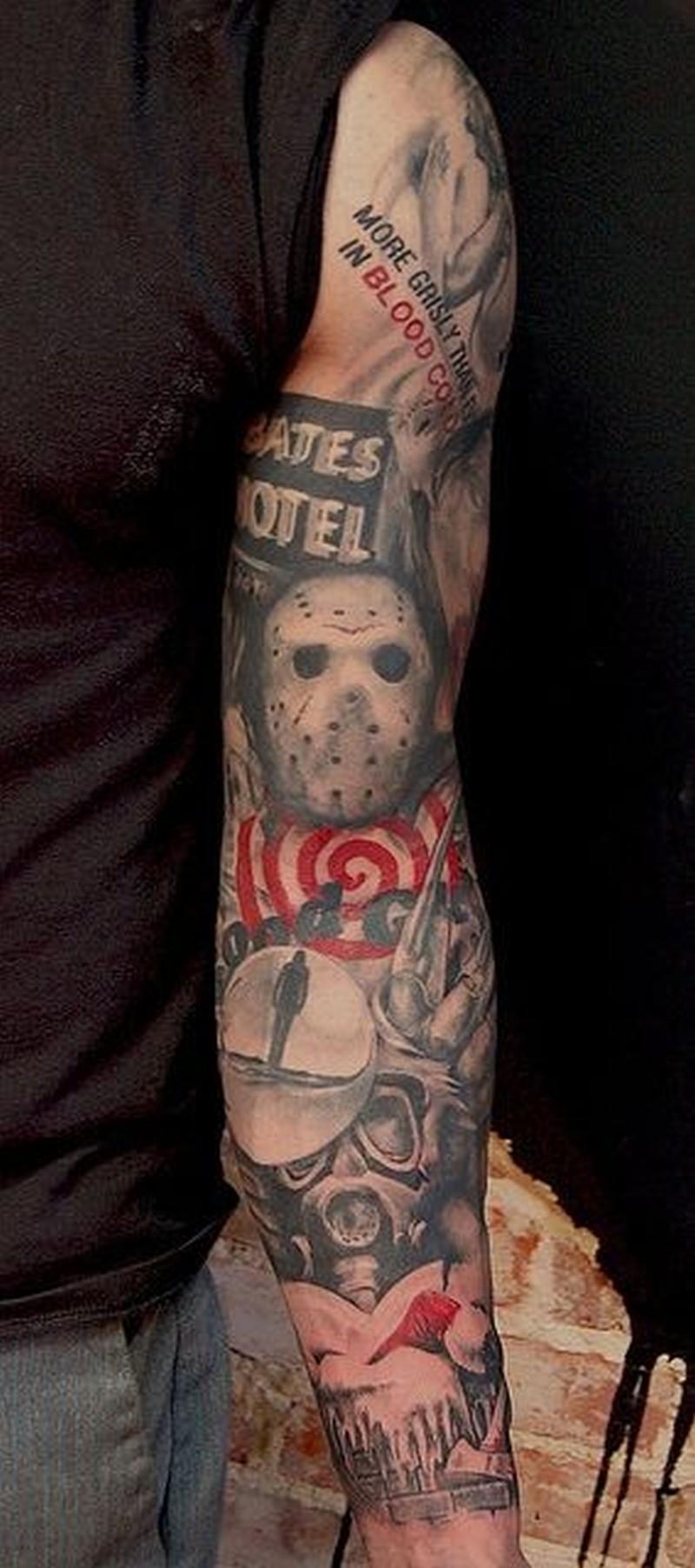 Friday the 13 movie horror tattoo on arm