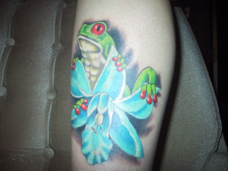 Frog blue orchid tattoo design