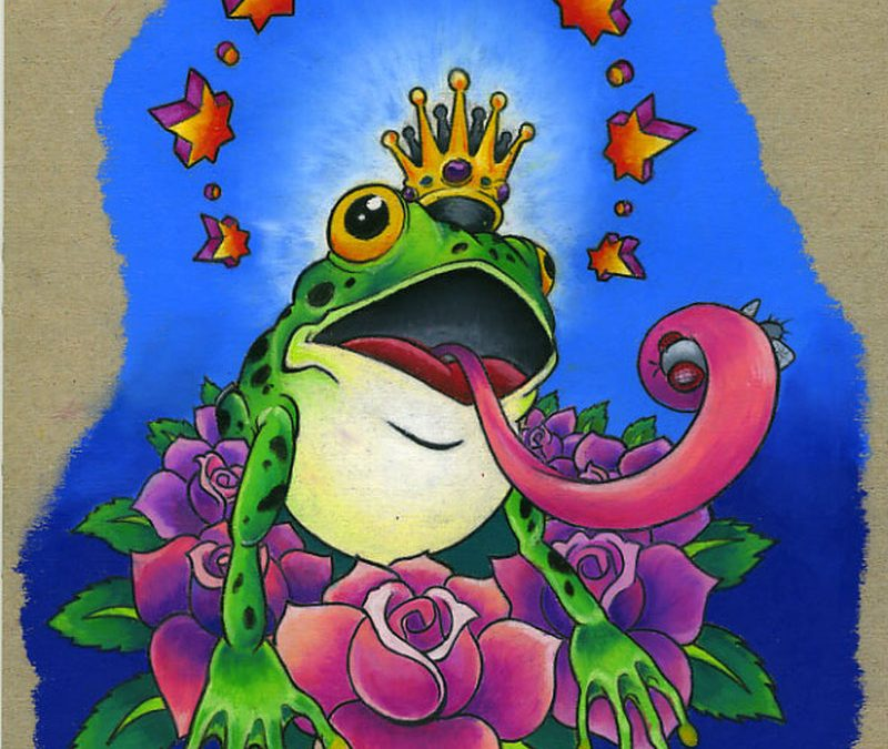 Frog king tattoo design