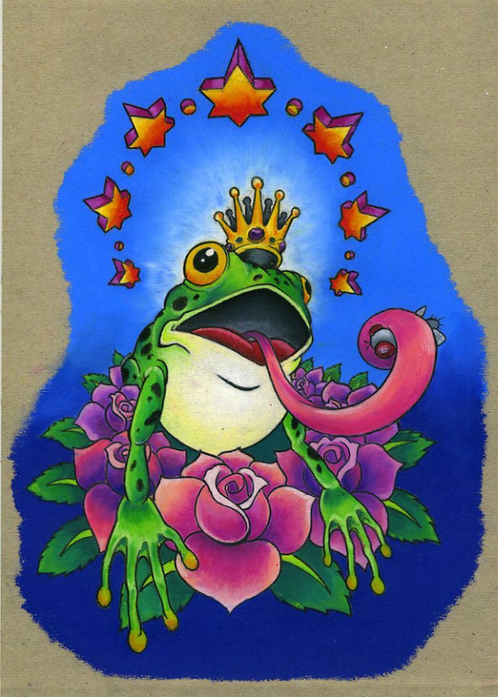 Frog king tattoo design