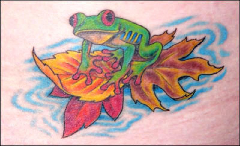 Frog n leaf tattoo design