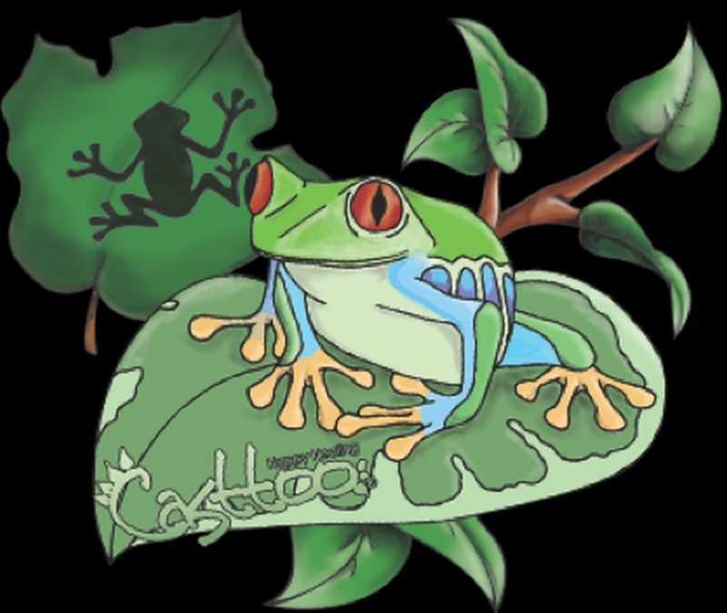 Frog n leaf tattoo designs