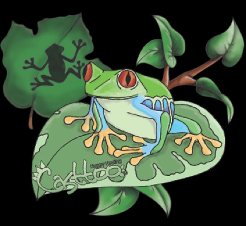 Frog n leaf tattoo designs