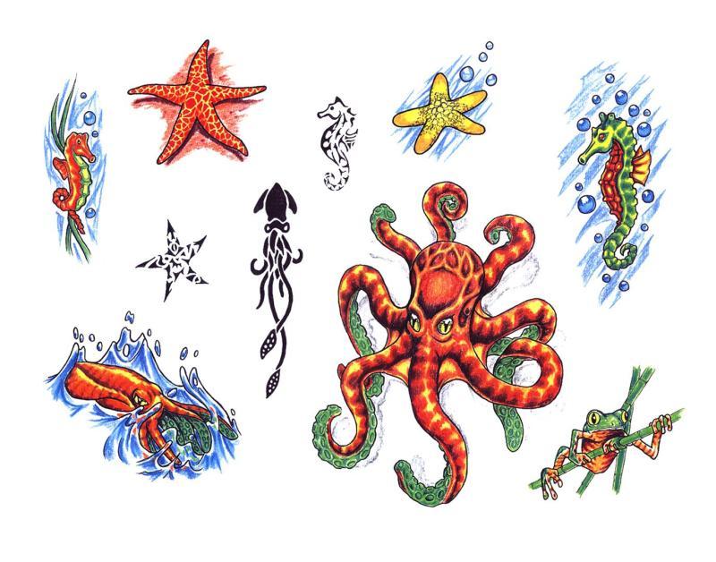 Frog n octopus tattoo designs