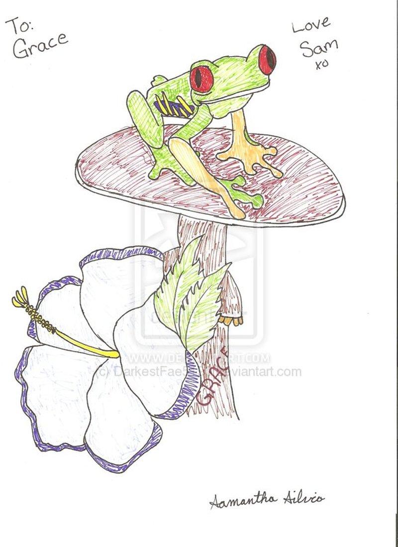 Frog nd mushroom tattoo design