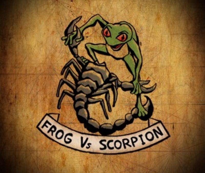Frog vs scorpion color tattoo design