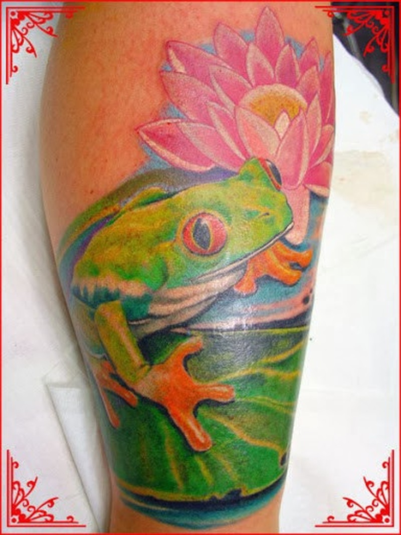 Frog with lotus tattoo design