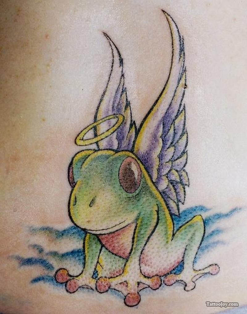 Frog with wings tattoo design 2