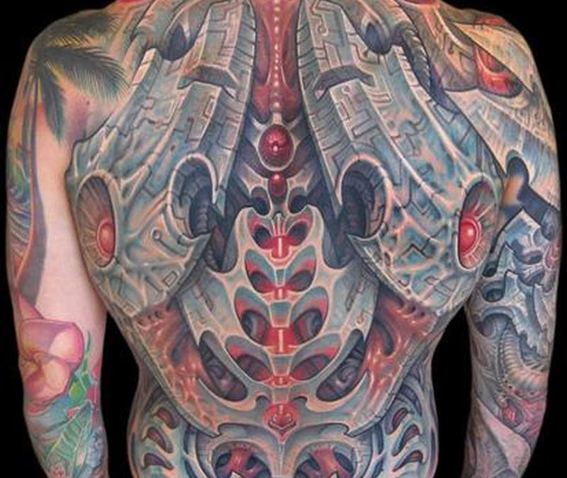 Full back 3d biomechanical tattoo design