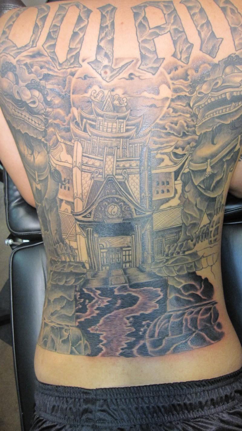 Full back asian tattoo design