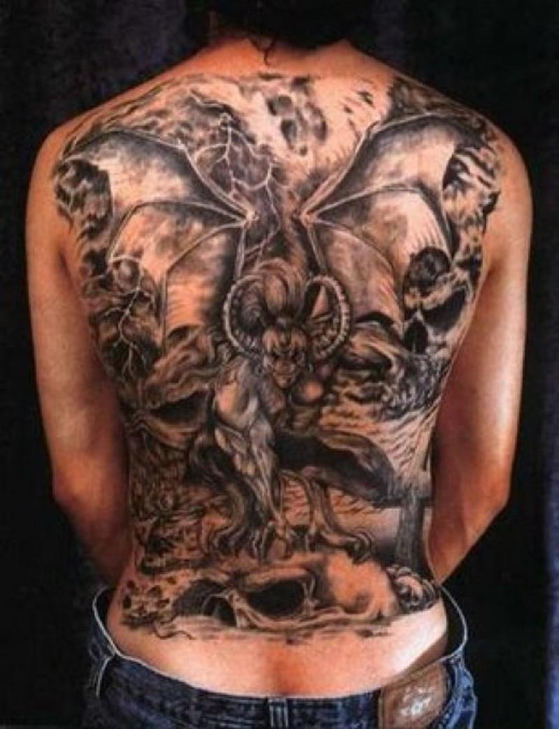 Full back bats tattoo design