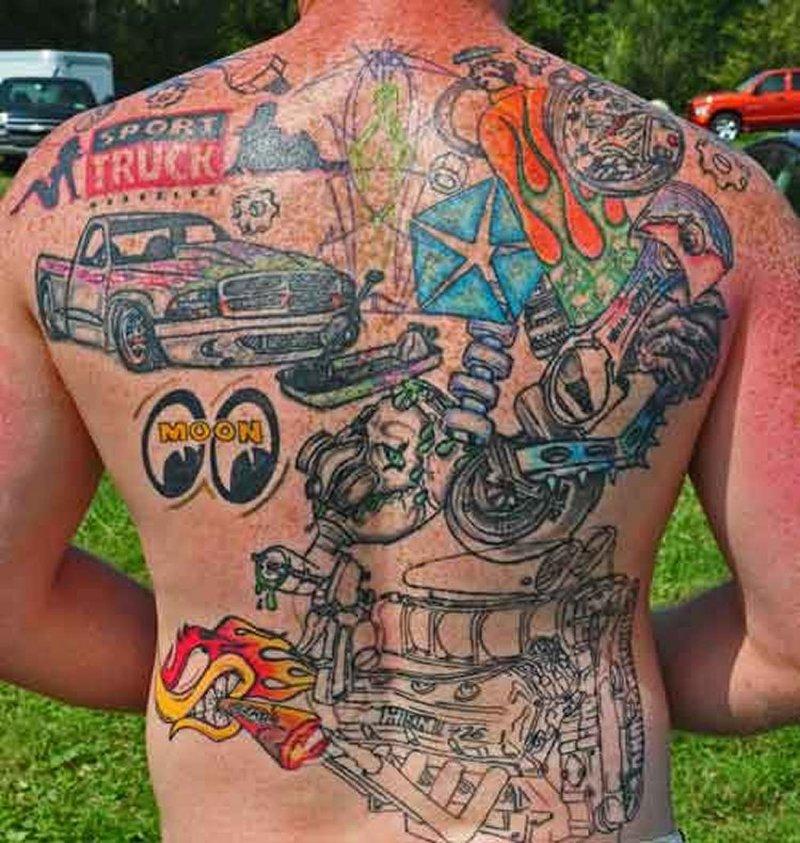 Full back car parts tattoo design - Tattoos Book - 65.000 Tattoos ...
