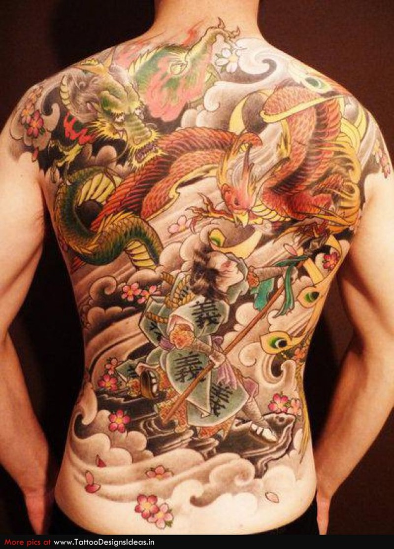 Full back color ink asian tattoo