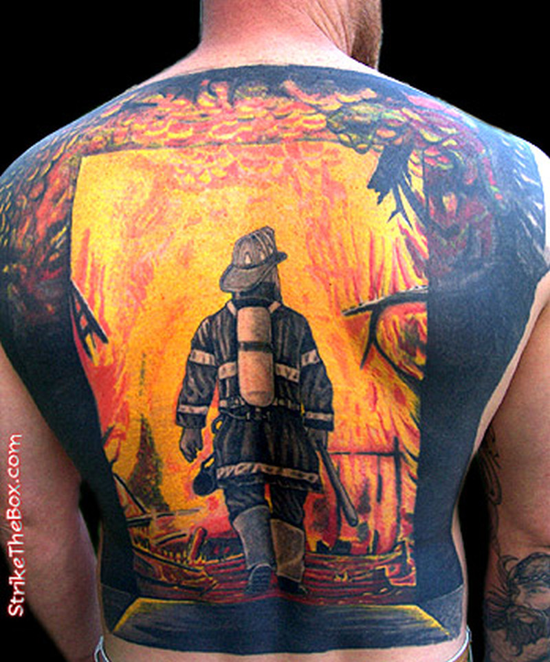 Full back firefighter design tattoo