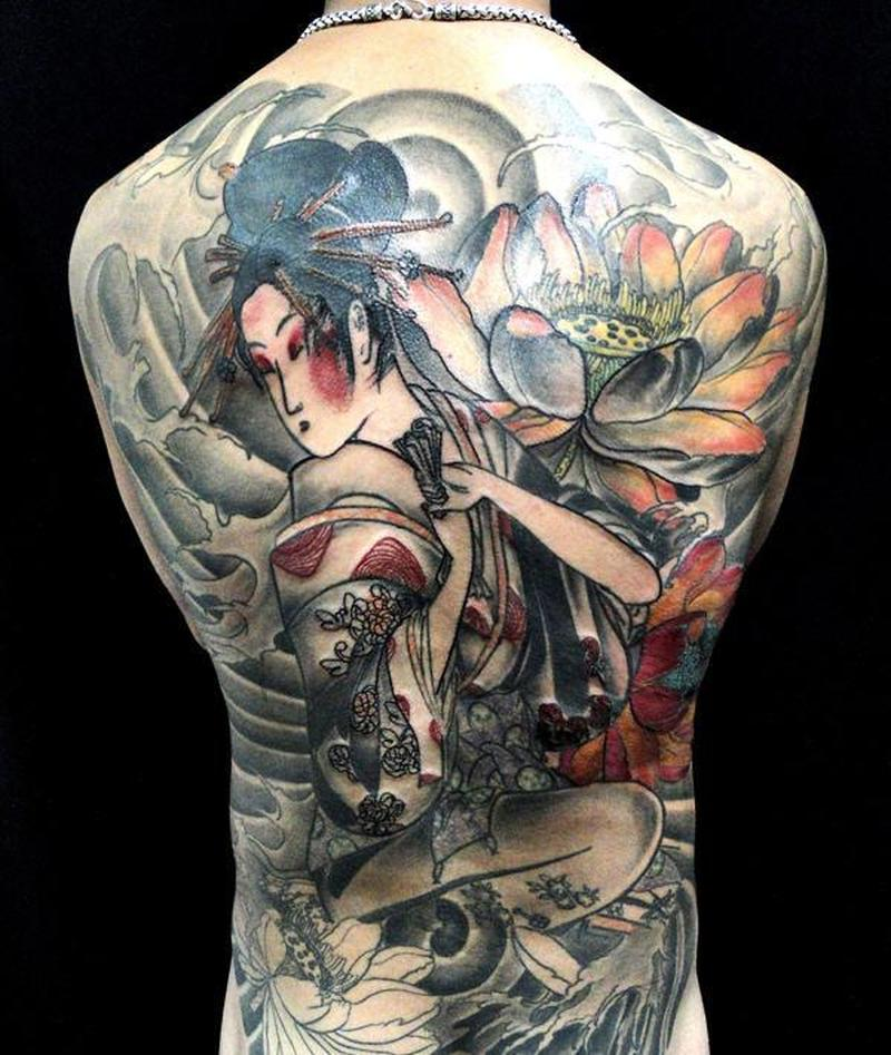 Full back geisha n lotus tattoo design