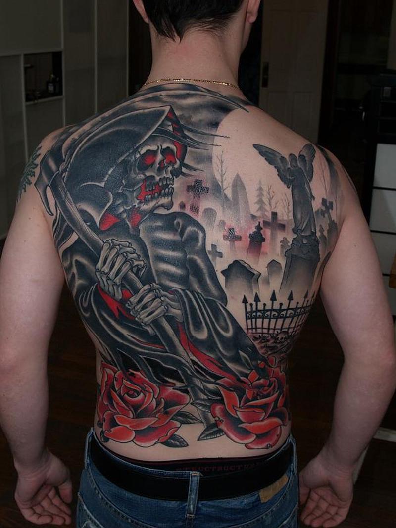 Full back grim reaper graveyard for men tattoo