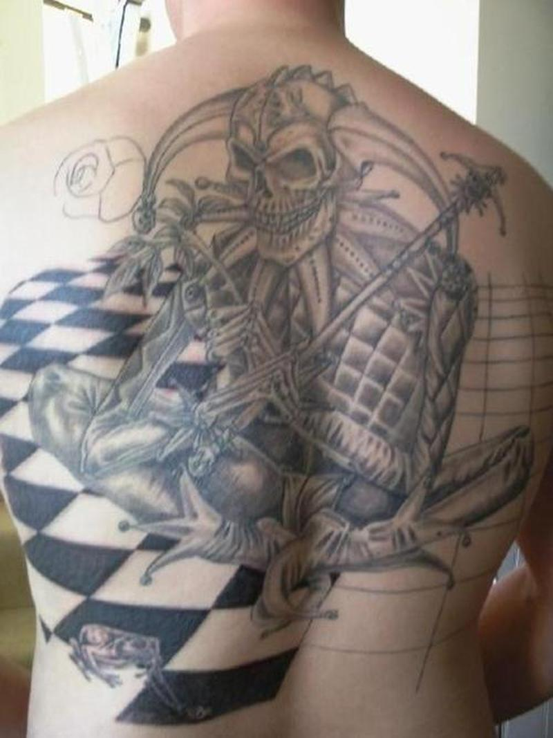 full back skull joker n chess tattoo design tattoos book tattoos designs. Black Bedroom Furniture Sets. Home Design Ideas