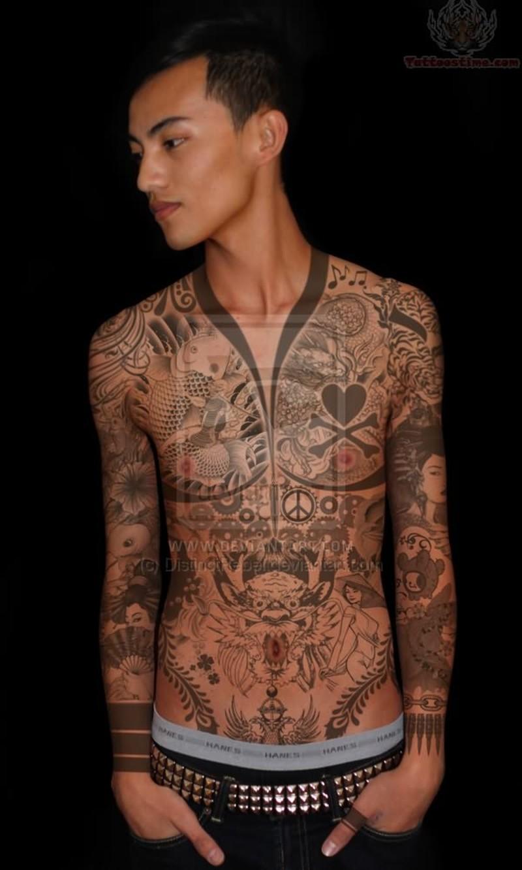 Full body japanese tattoo style