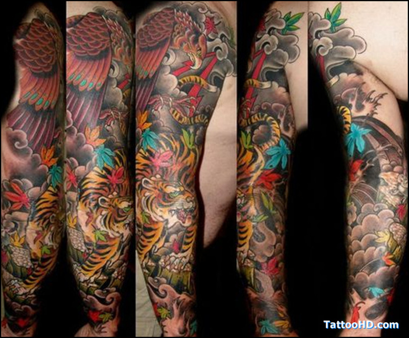 Full sleeve asian tattoo designs