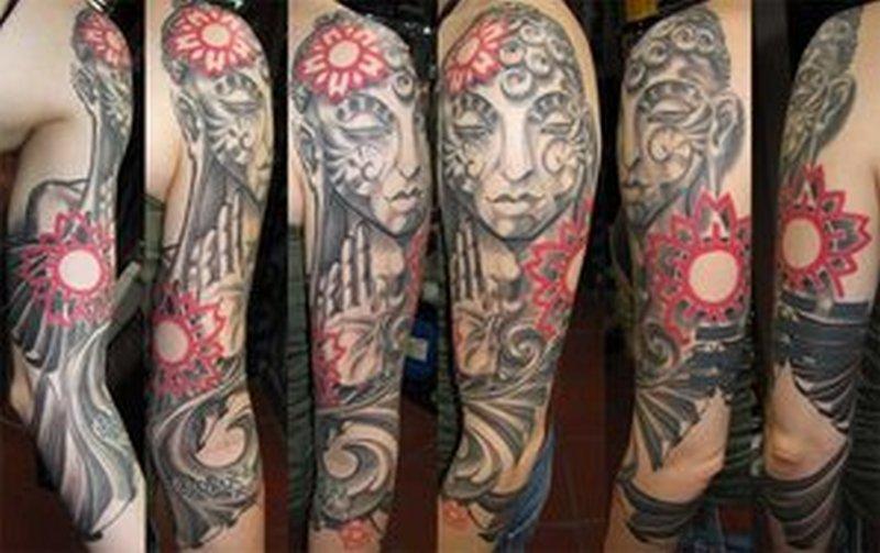 Full sleeve buddha tattoo designs