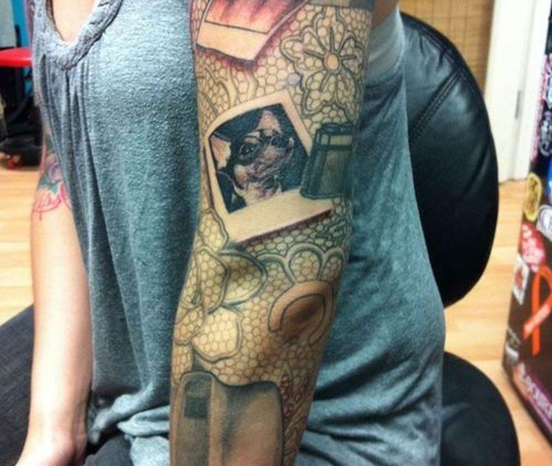 Full sleeve camera tattoo design