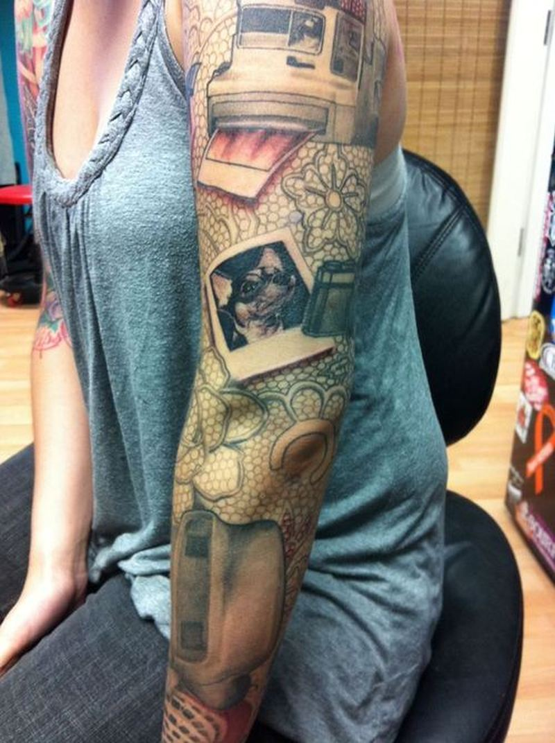 Full sleeve camera tattoo design