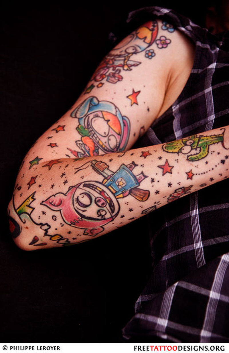 71b22827af9c3 Full sleeve cartoon design 2 tattoo - Tattoos Book - 65.000 Tattoos ...