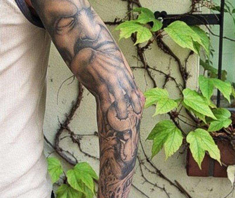 Full sleeve demon tattoo design