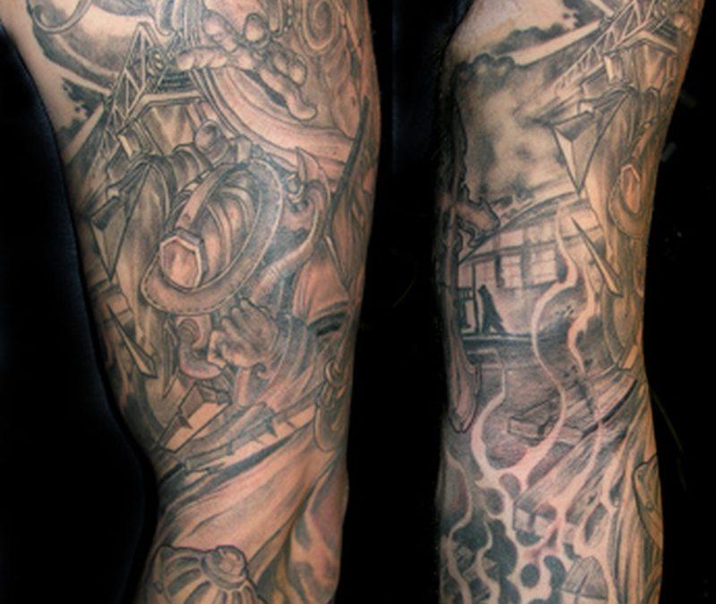 Full sleeve firefighter tattoo design