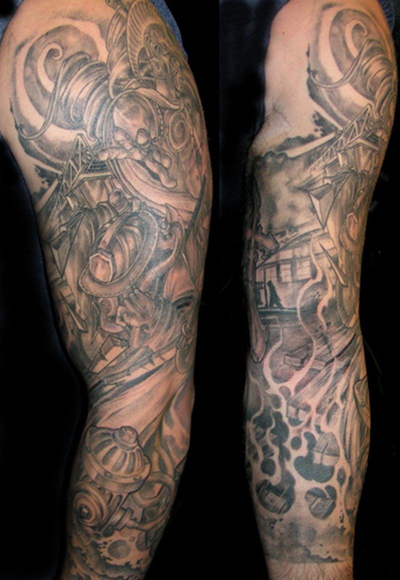 Full sleeve firefighter tattoo design