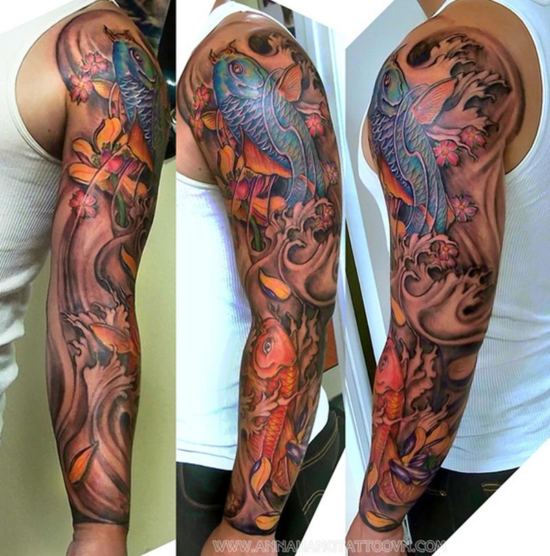 Full sleeve fishes tattoo design