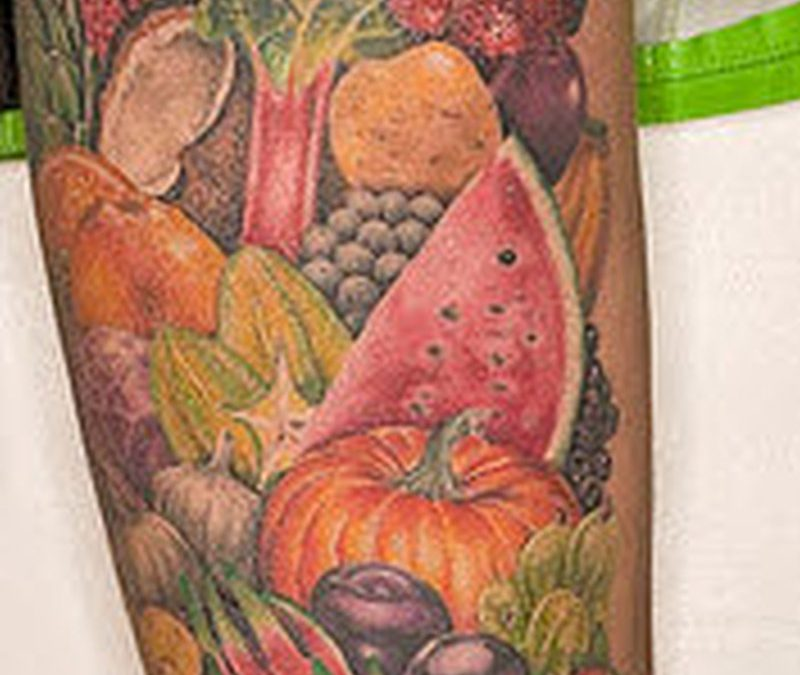 Full sleeve fruit tattoo design
